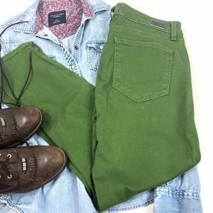 Paige Green Kylie Zipper Crop Jeans 30